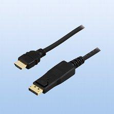 DELTACO DisplayPort till HDMI monitorkabel, 20-pin ha - ha 1m, svart